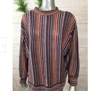Over size Vintage Sweater Colorful Stripes